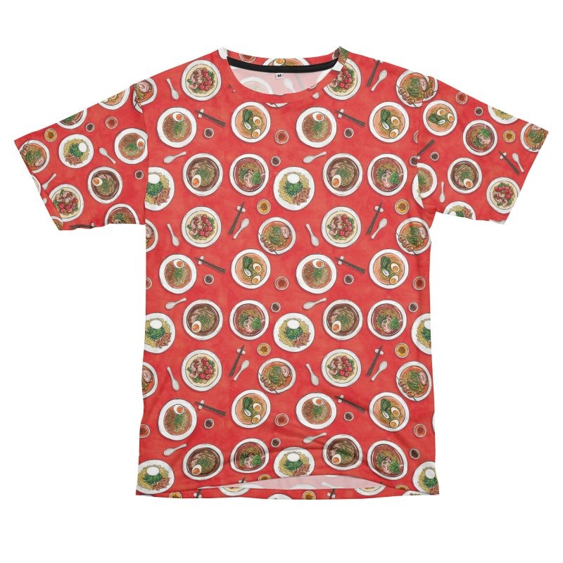 Red Ramen Bowls Women's Unisex T-Shirt Cut & Sew by Sarah Becan
