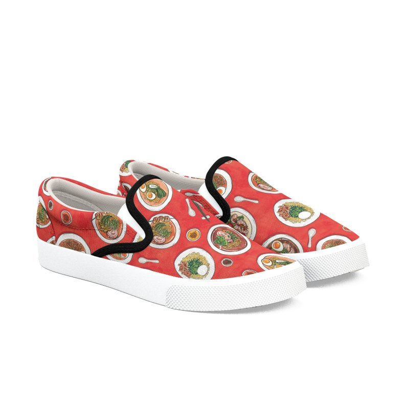 Red Ramen Bowls Women's Slip-On Shoes by Sarah Becan