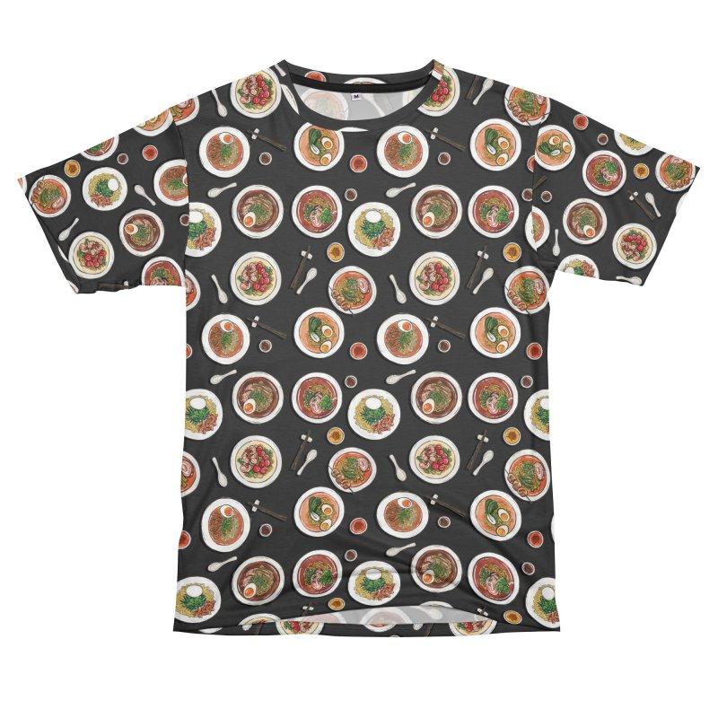Black Ramen Bowls Men's T-Shirt Cut & Sew by Sarah Becan