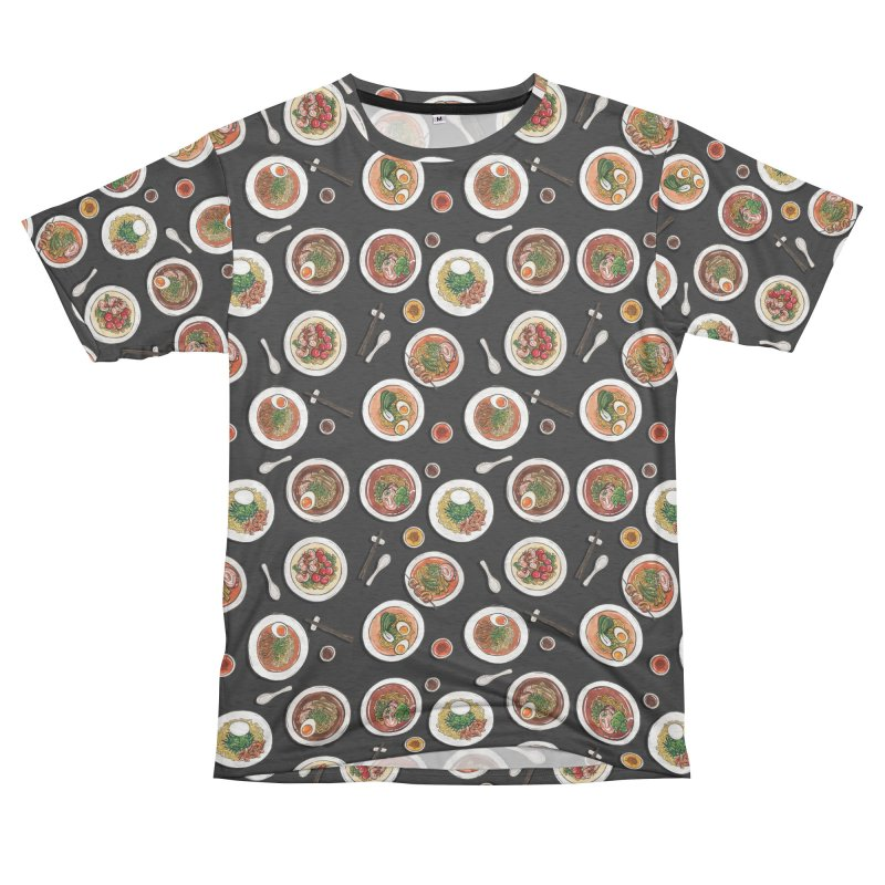 Black Ramen Bowls Women's Unisex French Terry T-Shirt Cut & Sew by Sarah Becan