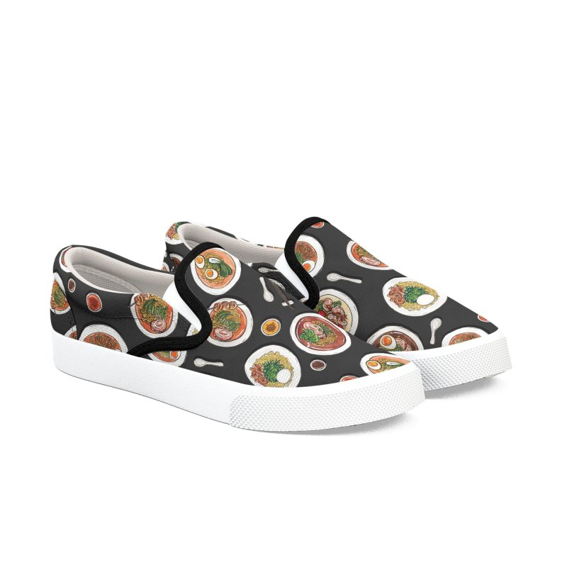 Black Ramen Bowls Women's Slip-On Shoes by Sarah Becan