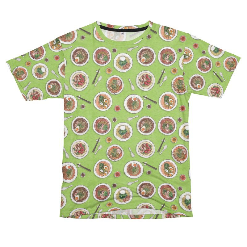 Green Ramen Bowls Women's Unisex French Terry T-Shirt Cut & Sew by Sarah Becan