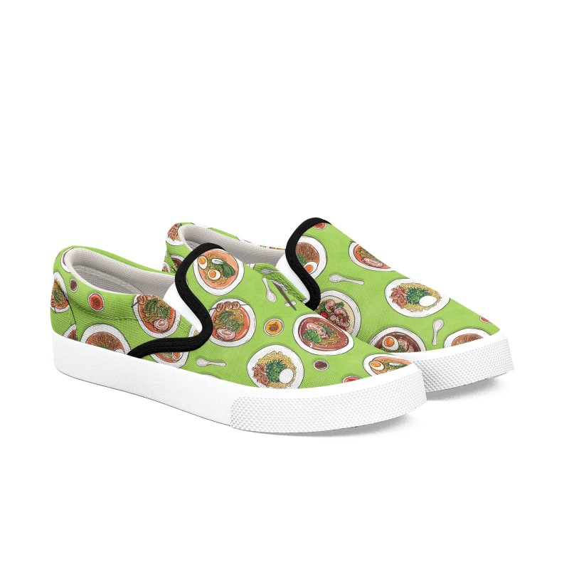 Green Ramen Bowls Women's Slip-On Shoes by Sarah Becan
