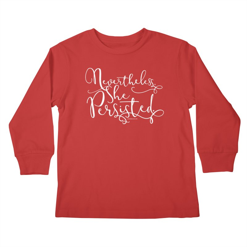 Nevertheless, She Persisted Kids Longsleeve T-Shirt by Sarah Becan