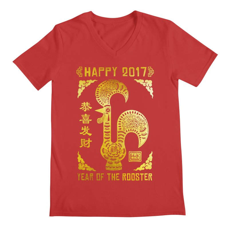 Fat Rice: Year of the Rooster Men's Regular V-Neck by Sarah Becan