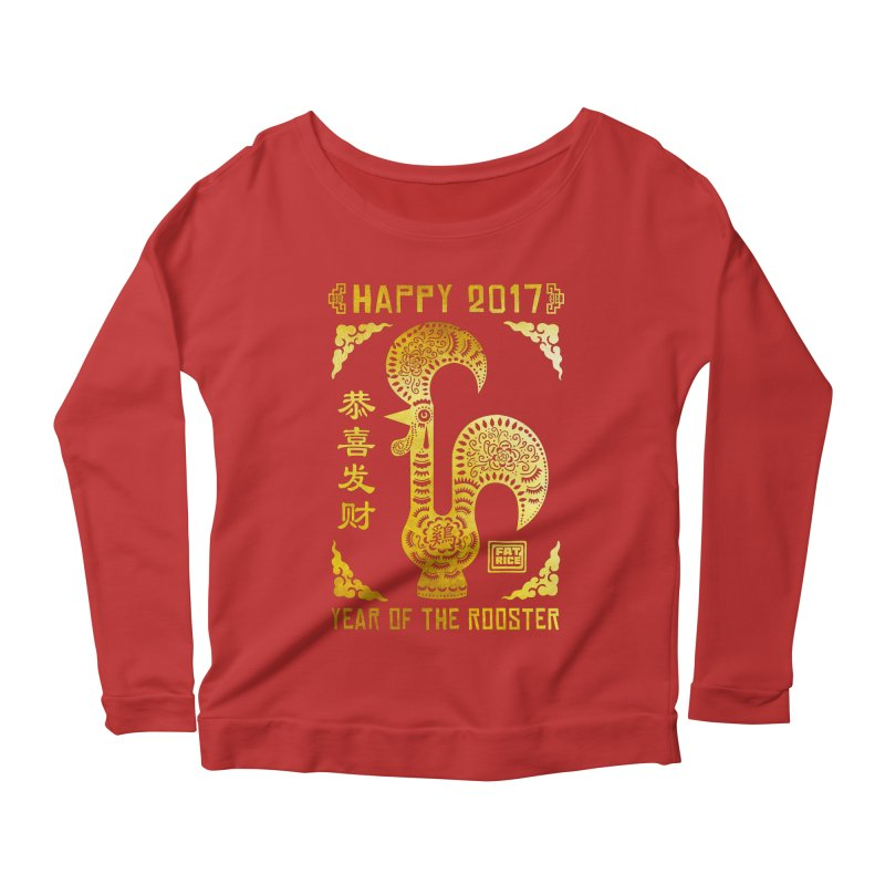 Fat Rice: Year of the Rooster Women's Scoop Neck Longsleeve T-Shirt by Sarah Becan