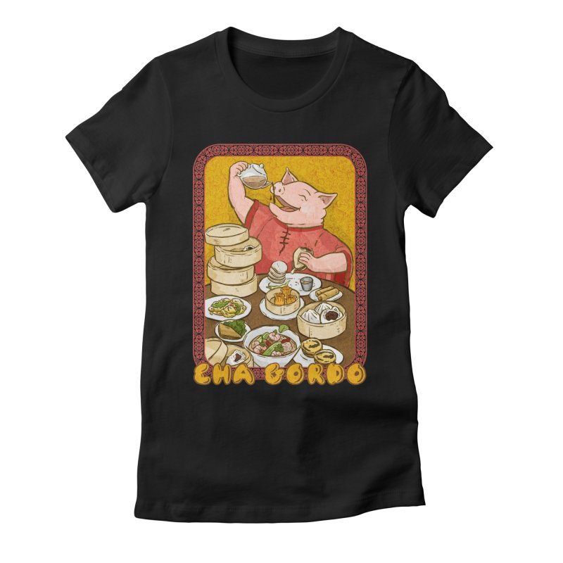 Fat Rice: Cha Gordo Women's Fitted T-Shirt by Sarah Becan