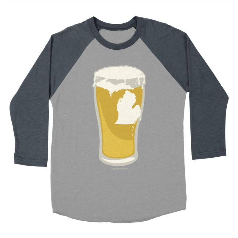 Michigan Beer Men's Baseball Triblend Longsleeve T-Shirt by Sarah Becan