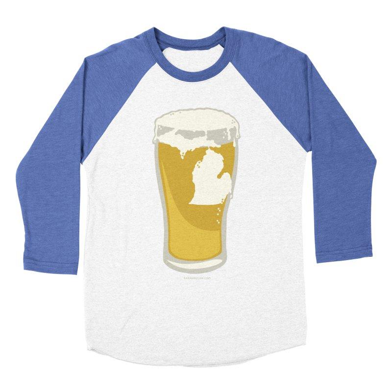 Michigan Beer Men's Baseball Triblend Longsleeve T-Shirt by Sarah Becan