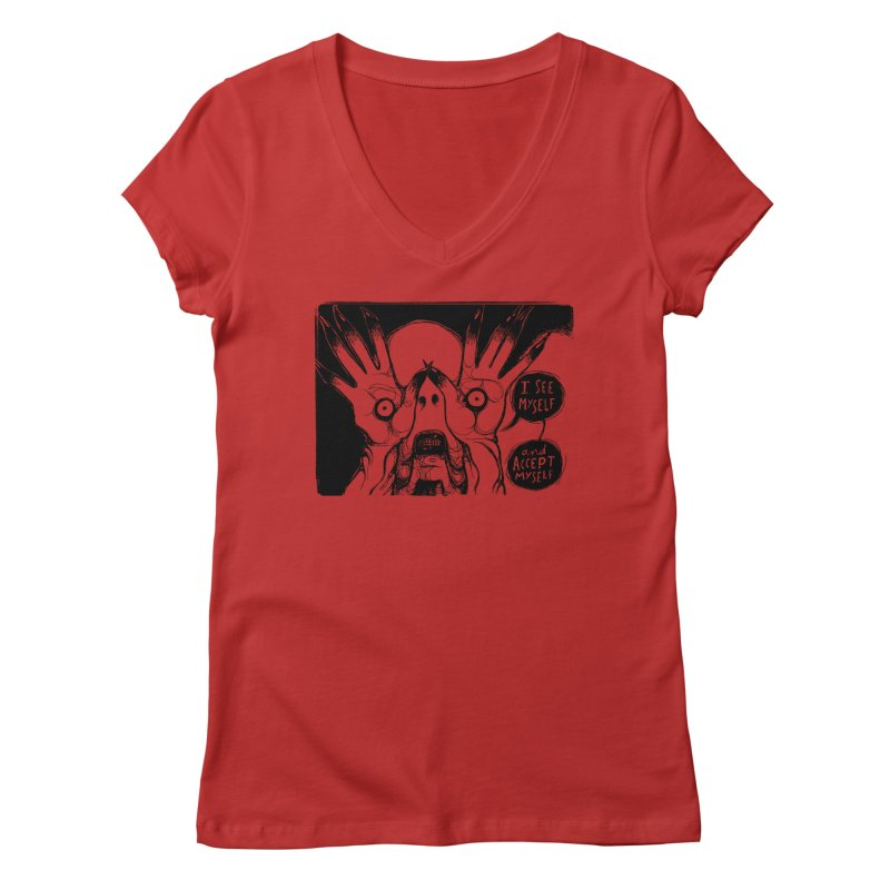 I See Myself and Accept Myself Women's Regular V-Neck by Sarah Becan