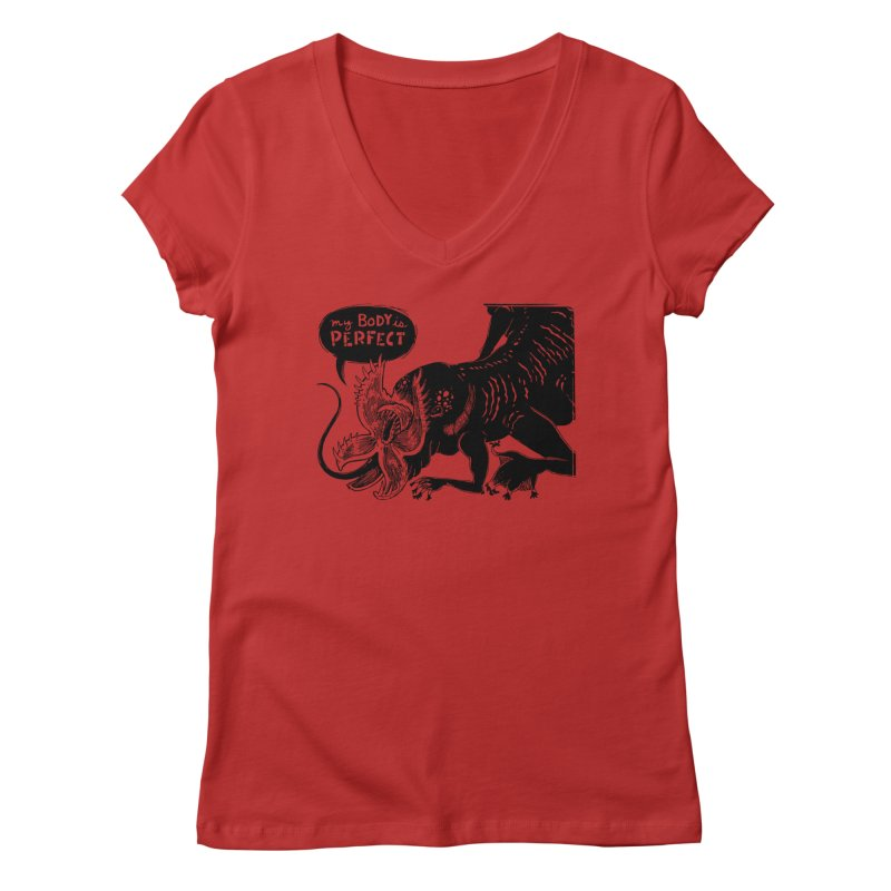 My Body is Perfect Women's Regular V-Neck by Sarah Becan