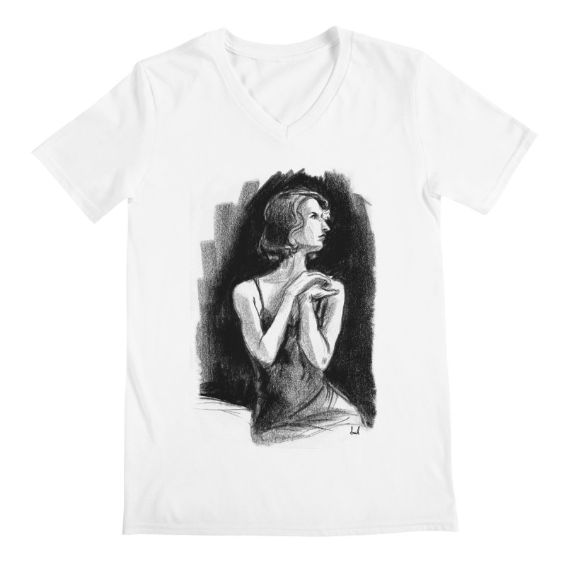 black dahlia noir Men's V-Neck by sarahc's Artist Shop