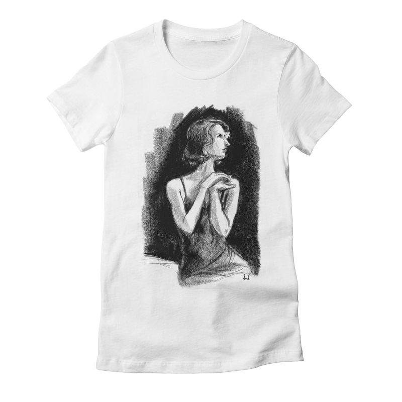 black dahlia noir Women's Fitted T-Shirt by sarahc's Artist Shop