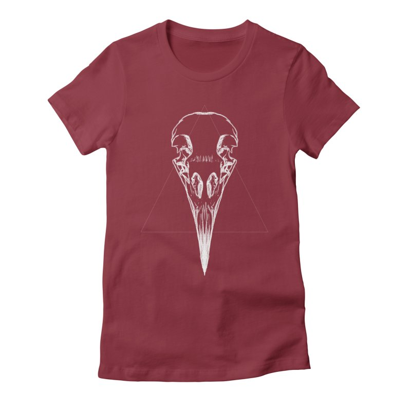 Corbeau blanc Women's Fitted T-Shirt by sarahc's Artist Shop