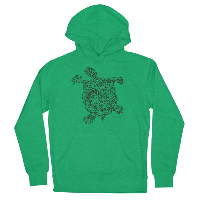 Green Turtle Men's French Terry Pullover Hoody by Sarah K Waite Illustration
