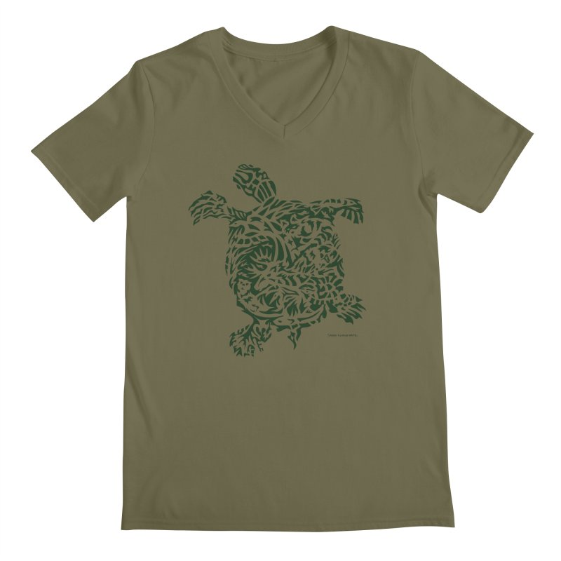 Green Turtle Men's V-Neck by Sarah K Waite Illustration