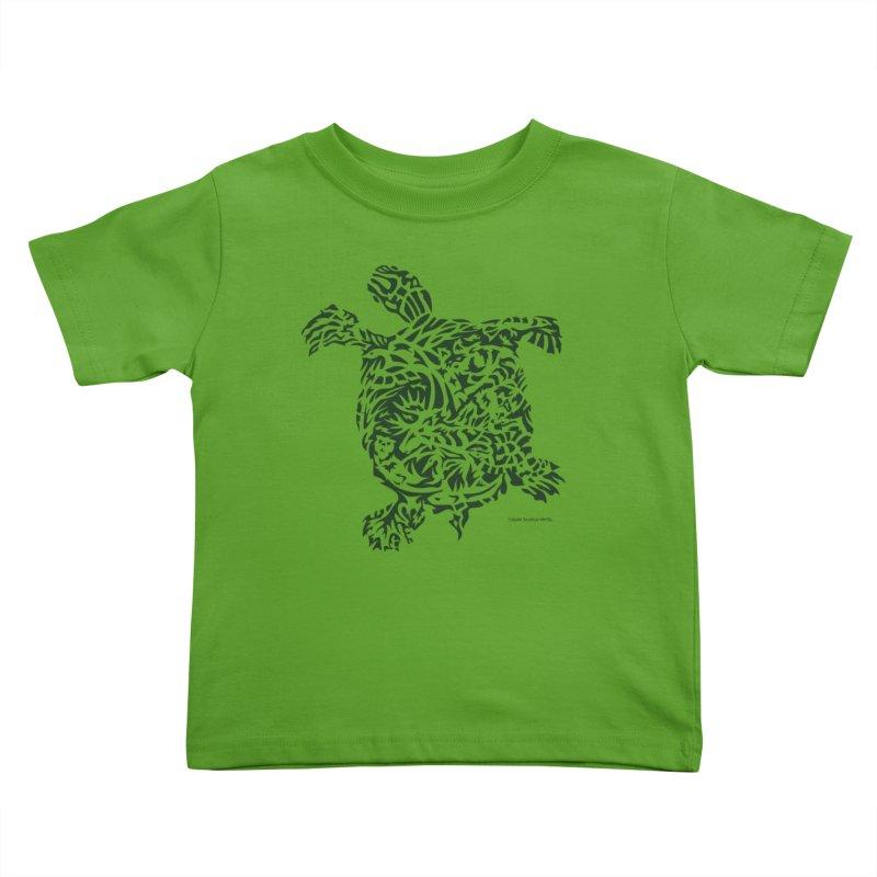 Green Turtle Kids Toddler T-Shirt by Sarah K Waite Illustration