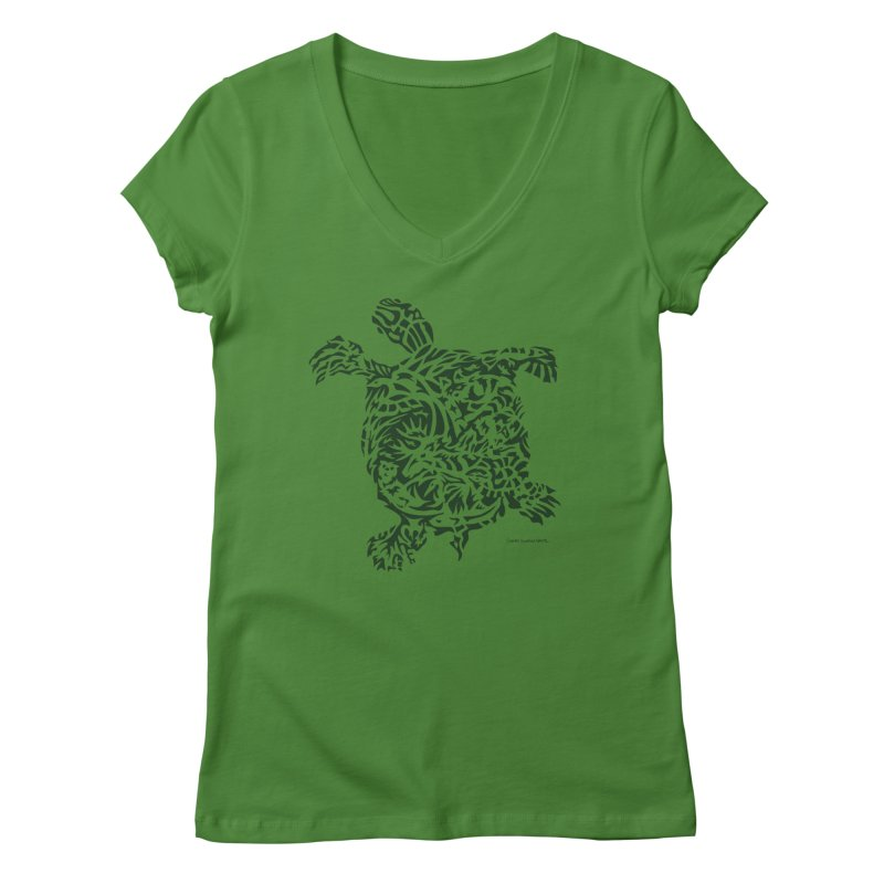 Green Turtle Women's Regular V-Neck by Sarah K Waite Illustration