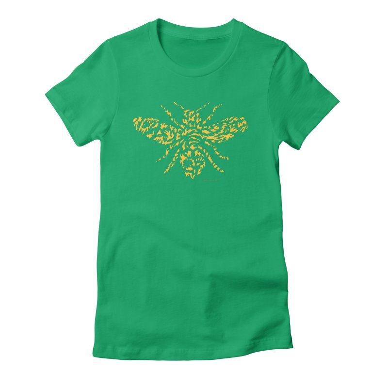 Yellow Honey Bee Women's Fitted T-Shirt by Sarah K Waite Illustration