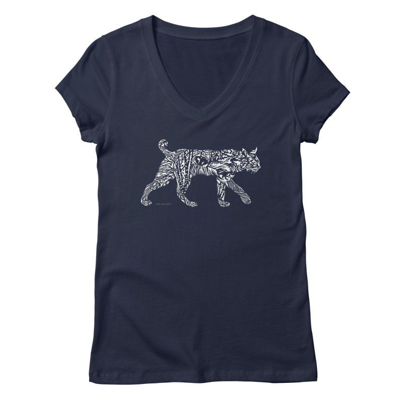 Bobcat Women's Regular V-Neck by Sarah K Waite Illustration