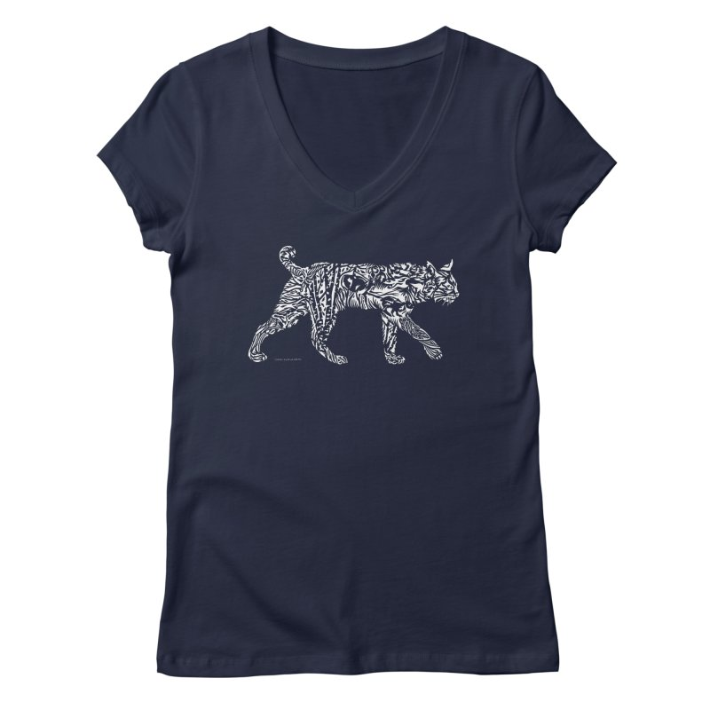 Bobcat Women's V-Neck by Sarah K Waite Illustration