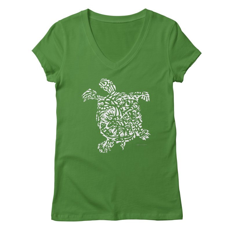 Turtle Women's Regular V-Neck by Sarah K Waite Illustration