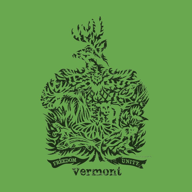 Vermont State Flag Men's Zip-Up Hoody by Sarah K Waite Illustration