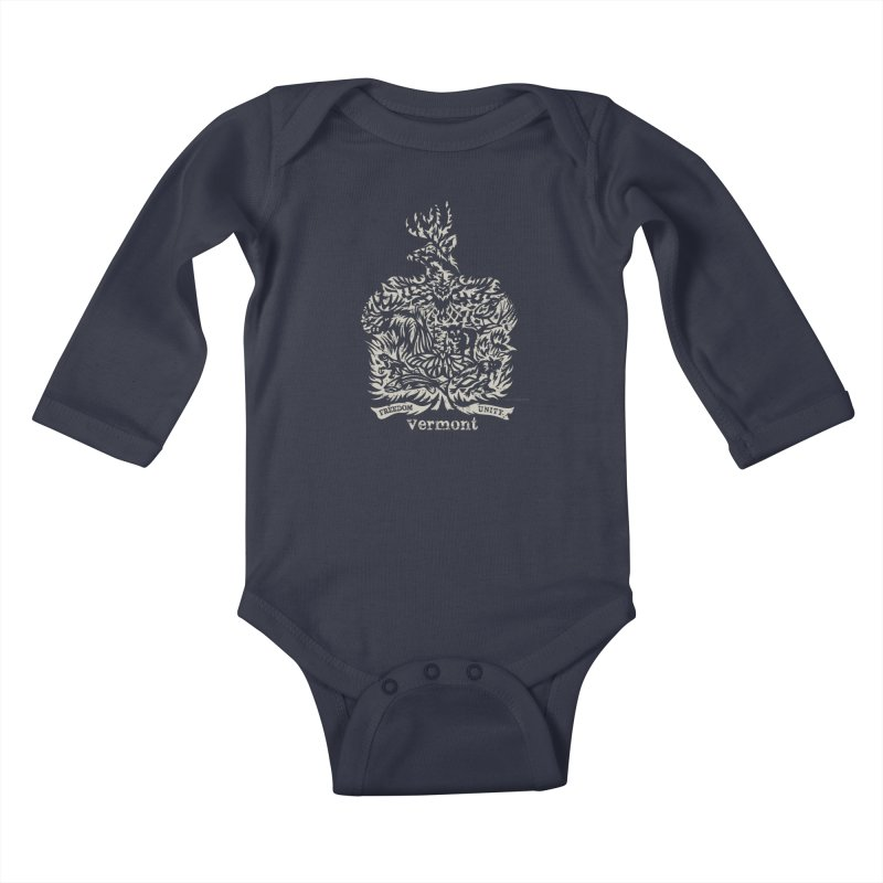 Vermont State Flag Kids Baby Longsleeve Bodysuit by Sarah K Waite Illustration
