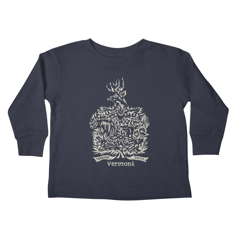 Vermont State Flag Kids Toddler Longsleeve T-Shirt by Sarah K Waite Illustration