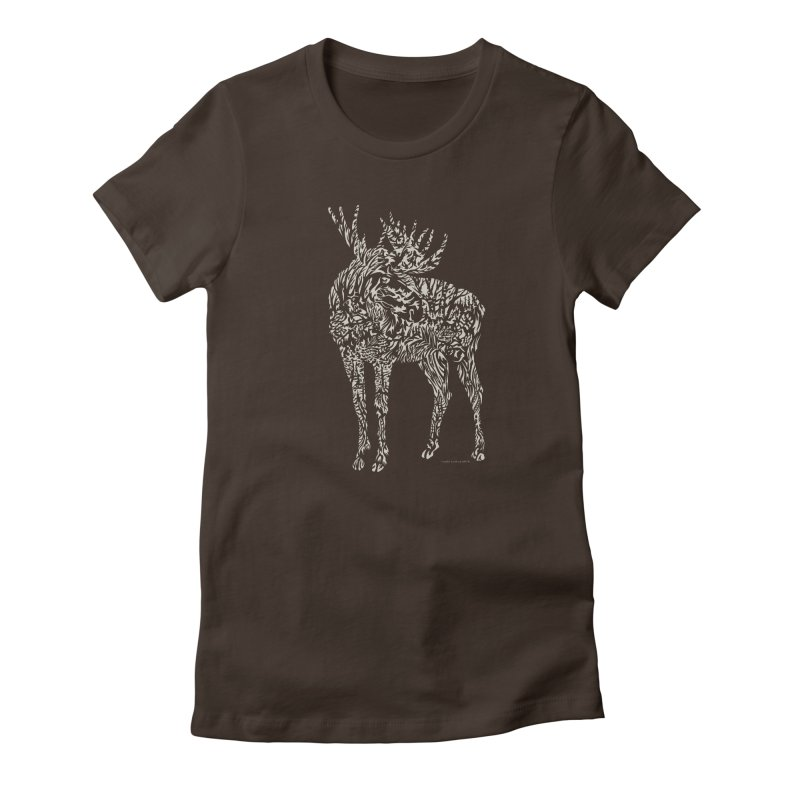 Moose Illustration Women's Fitted T-Shirt by Sarah K Waite Illustration