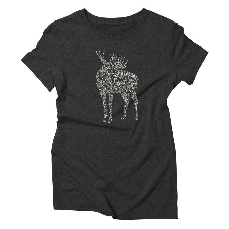 Moose Illustration Women's Triblend T-Shirt by Sarah K Waite Illustration