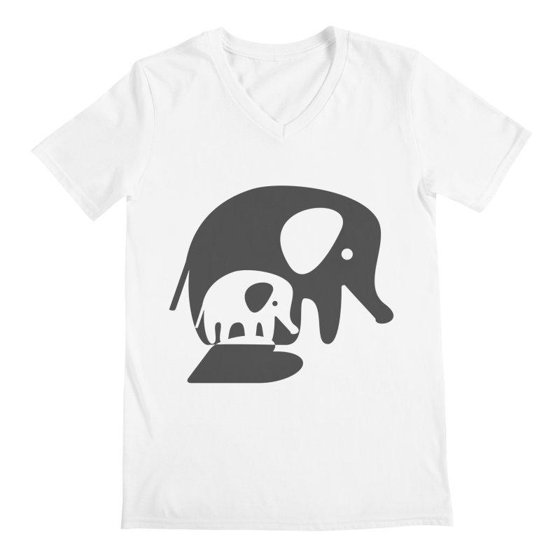 Love Elephants Men's Regular V-Neck by Avo G'day!
