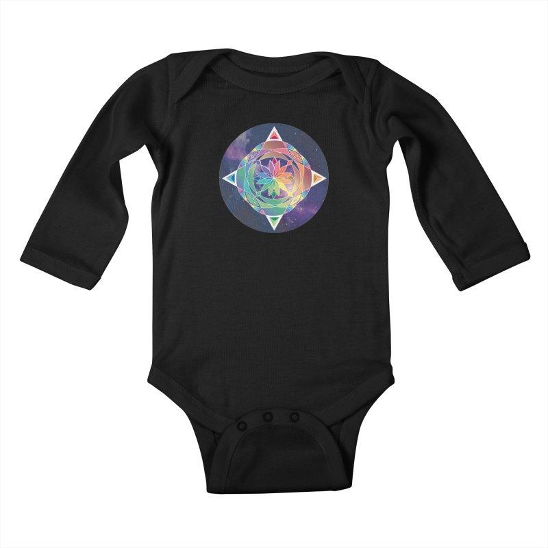 Space Unicorn Kids Baby Longsleeve Bodysuit by Graphic Art by Sarah Sorden