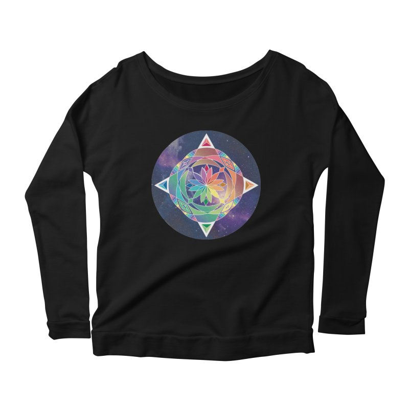 Space Unicorn Women's Longsleeve Scoopneck  by Graphic Art by Sarah Sorden