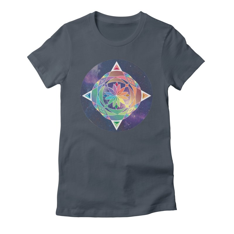 Space Unicorn Women's Fitted T-Shirt by Graphic Art by Sarah Sorden