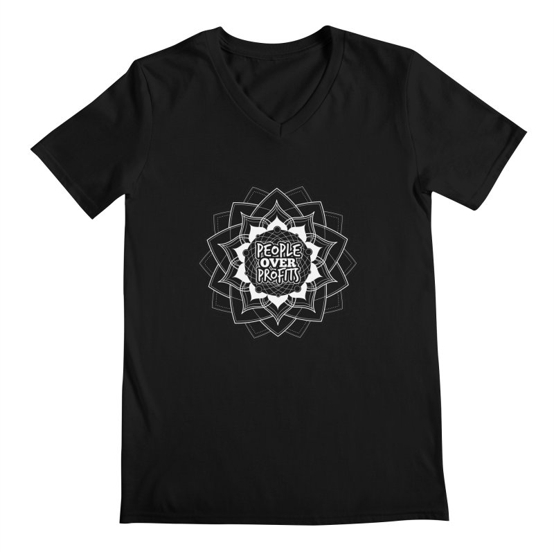 People Over Profits Men's V-Neck by Graphic Art by Sarah Sorden