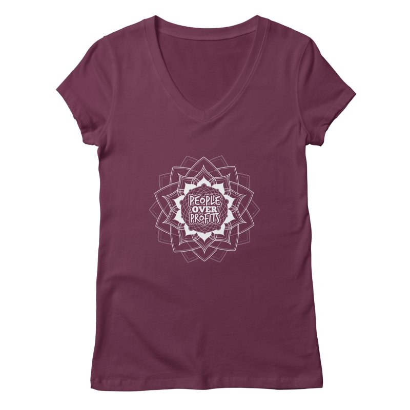 People Over Profits Women's V-Neck by Graphic Art by Sarah Sorden