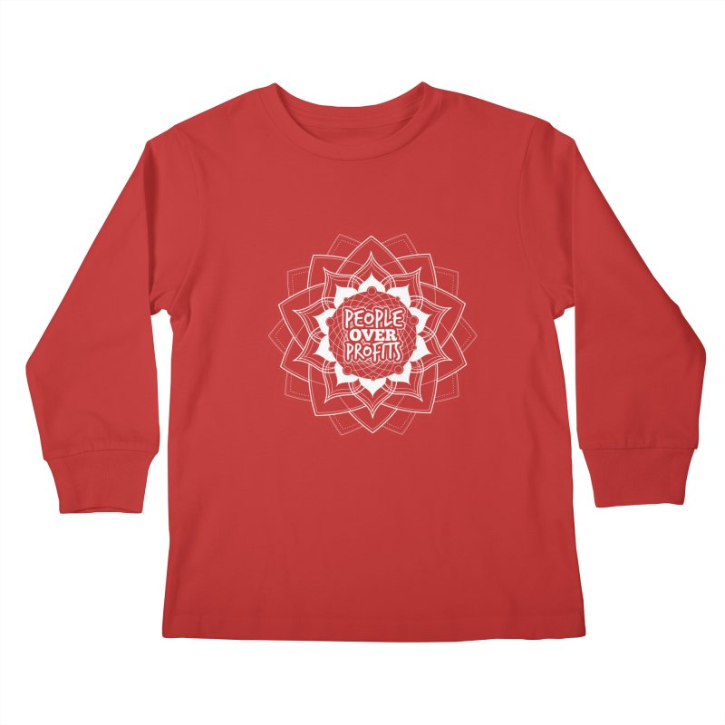 People Over Profits Kids Longsleeve T-Shirt by Graphic Art by Sarah Sorden
