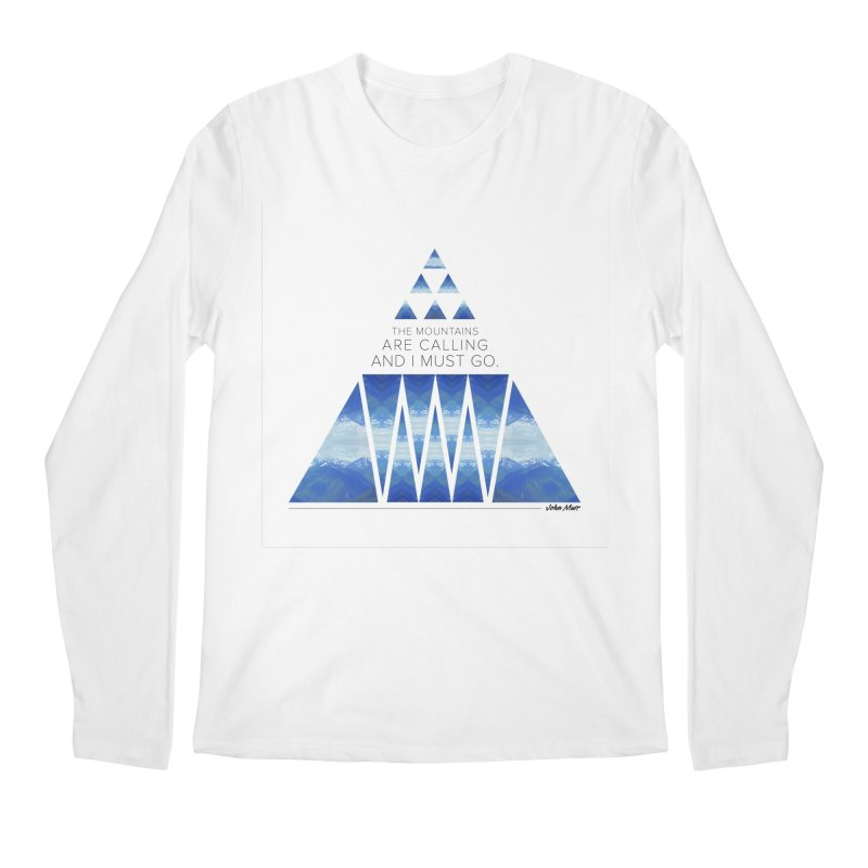 The Mountains are Calling Men's Longsleeve T-Shirt by Graphic Art by Sarah Sorden