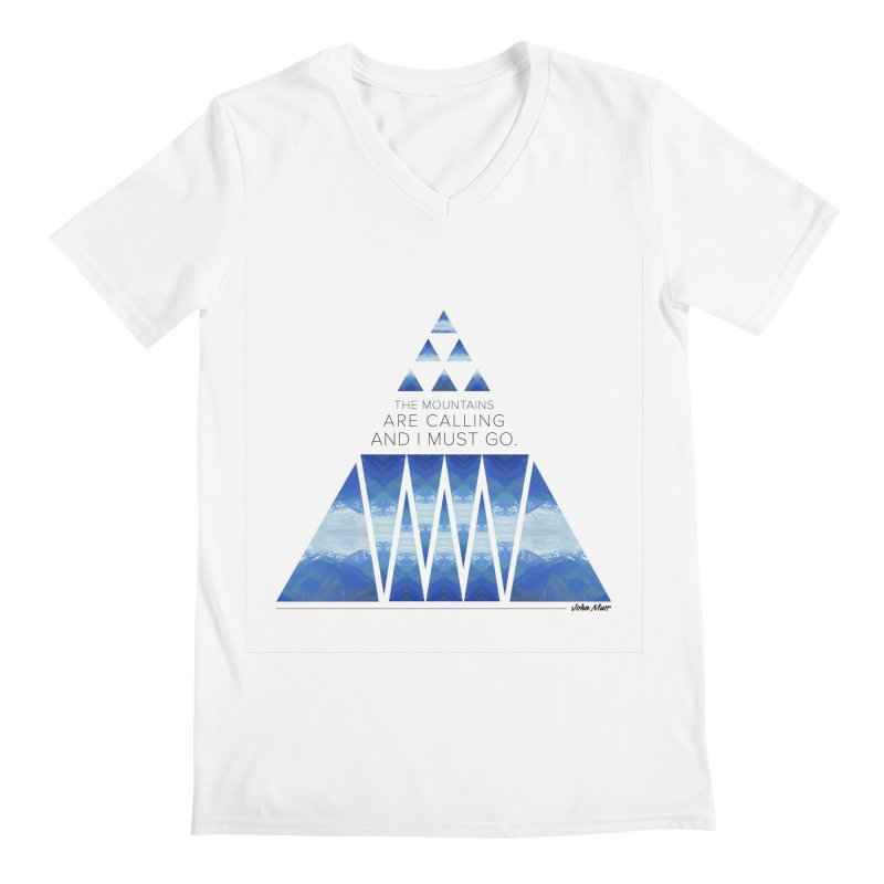 The Mountains are Calling Men's V-Neck by Graphic Art by Sarah Sorden