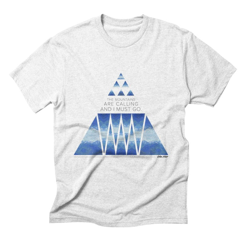 The Mountains are Calling Men's Triblend T-shirt by Graphic Art by Sarah Sorden