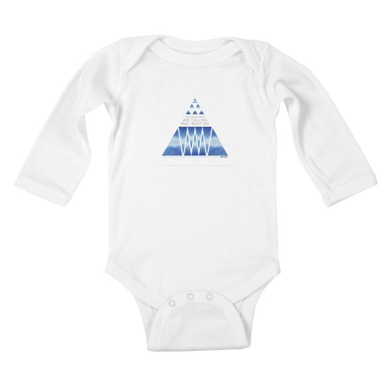 The Mountains are Calling Kids Baby Longsleeve Bodysuit by Graphic Art by Sarah Sorden