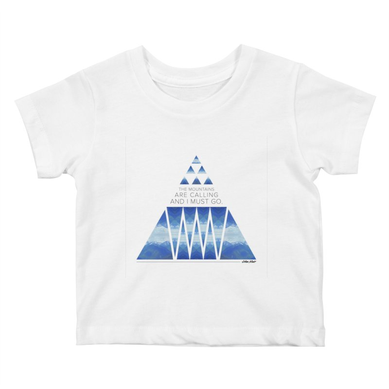 The Mountains are Calling Kids Baby T-Shirt by Graphic Art by Sarah Sorden