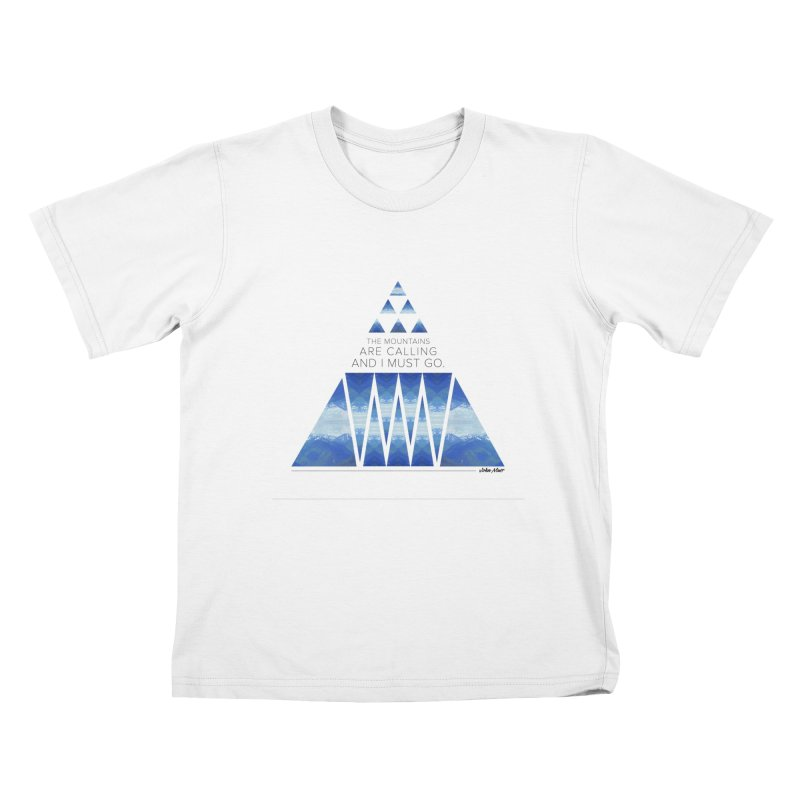 The Mountains are Calling Kids T-shirt by Graphic Art by Sarah Sorden