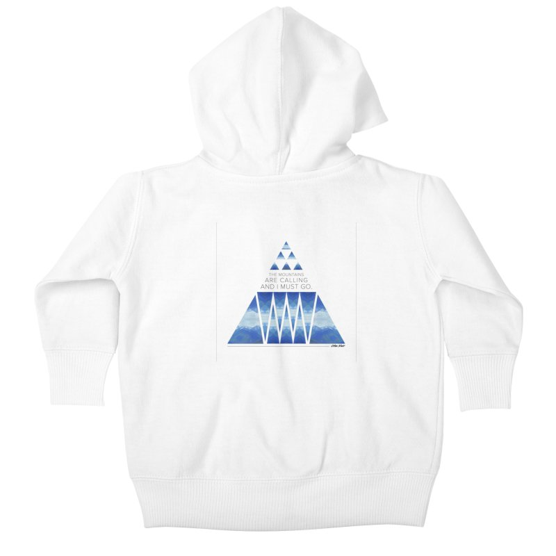 The Mountains are Calling Kids Baby Zip-Up Hoody by Graphic Art by Sarah Sorden