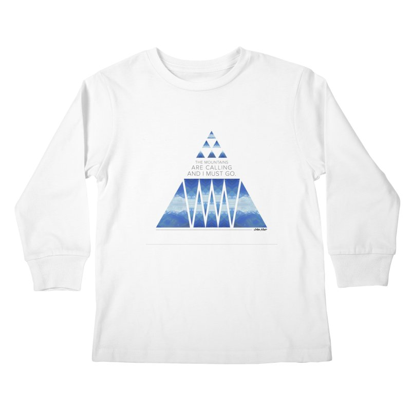 The Mountains are Calling Kids Longsleeve T-Shirt by Graphic Art by Sarah Sorden