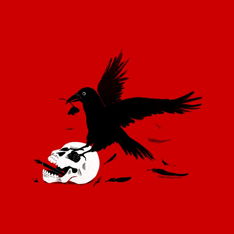 Crow and Skull Men's T-Shirt by Sarah Wright's Artist Shop