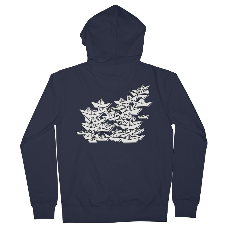 Paper Boats by Sardine Men's French Terry Zip-Up Hoody by Sardine