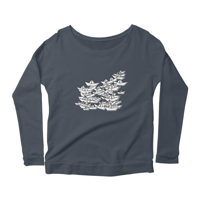 Paper Boats by Sardine Women's Scoop Neck Longsleeve T-Shirt by Sardine