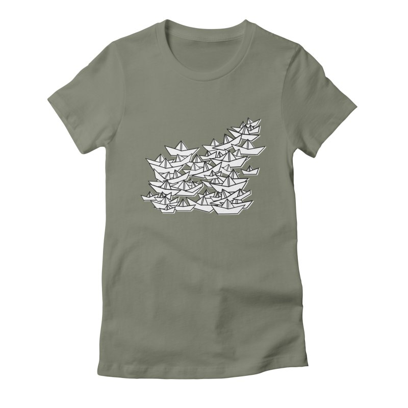 Paper Boats by Sardine Women's Fitted T-Shirt by Sardine